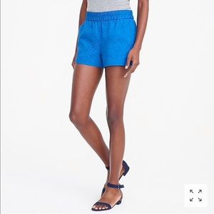 NWT J.CREW Floral Jacquard  Blue pull-on shorts 10
